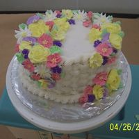 Wilton Class 2 Final Cake  I had started the class & dropped out so I didn't have the bird-making supplies the second time & my teacher didn't make...