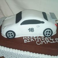 Porsche Cake For 18Th Birthday The bottom of the cake was iced in choco buttercream. I did the car using the Wilton car cake pan and just trimmed it up to have more...