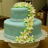 Blue Fondant With Day Lilies