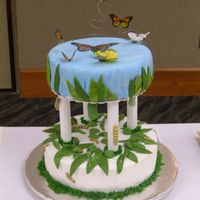 "Butterfly Life Cycle For 2005 Arizona Annual Cake And Sugar Arts Show  The theme of the show was ""New Beginnings"". My cake represented the life cycle as a caterpillar turns into a butterfly. There..."