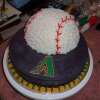 Arizona Diamondbacks Cake W/ Baseball - My 1St Stacked Cake!  Baseball done with 1/2 of sports ball pan. I outlined the A logo and used a brush dipped in water to smooth it out. This is the first time...