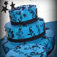 Quinceanera Cakes 2 parts sky blue and 1 part royal blue buttercream with Duffs Black Fondant Star Accents. I cheated on the piping design and added black to...