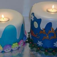 Christmas Candles Christmas Candle cakes are WASC torted several times, frosted in buttercream then covered in fondant. The tallest candle is three 6 x 3...
