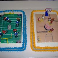 Basketball And Football Cakes made for grandson's birthday. The boys love both football and basketball so my son wanted to have two cakes made one with...
