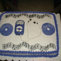 Ipod And Music Notes Cake Cake was made for a friend whose daughter graduated from high school. Cake is white with buttercream icing. Earphones and Ipod made with...