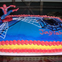 Spider Man Made this cake for great neice's Birthday. Jaylah was turning 3yrs old and she wanted a spider man cake. Cake is yellow with...