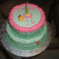 Sweet 16 Two tier french vanilla cake w/buttercream frosting, Made cake for granddaughters Sweet 16 birthday.