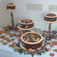 Chocolate Cake I made this out of chocolate and sugar flowers very pretty fall colors