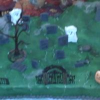 Halloween   I made this on short notice for my family fondant tomb stones and an Elvis mosoleum