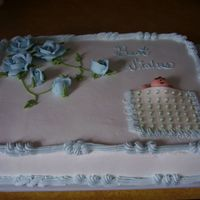 Baby Shower Med size sheet cake, half choc half white in butter cream