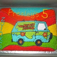 The Mystery Machine I did this cake for my oldest daughter's 5th bday. She loves Scooby Doo. Chocolate cake with all buttercream frosting.