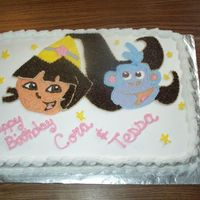 7-23-05_Dora__Boots_Cts_3_B.jpg  I did this for my twin daughters's 3rd bday. Both of them really love Dora & Boots. 1/2 chocand 1/2 white cake with all...