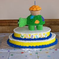 "Turtle Cake This was a little boy's first birthday cake. This cake was all done in buttercream except the ""blocks"" in the front with his..."
