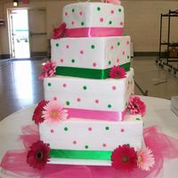 Pink Polka Dots This is my son and his new bride's wedding cake. It was iced all in fondant with buttercream polka dots and ribbon trim at the bottom...