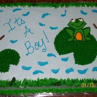 Frog Baby Shower Cake This was a shower cake for a litte boy. The mother-to-be loves frogs. This was all done in buttercream.