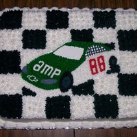 Dale Jr. Checkered flag Dale Jr . cake all done in buttercream.