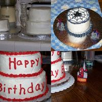 Spider Man Birthday Cake  This was supposed to be a 3 tier cake for my DS's 6th bday, but I got too nervous to put the 3rd tier on top. It's WASC with oreo...