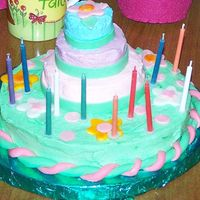 "Stacked Cake For 11Th Birthday. My daughter helped decorate her cake. She wanted a sherbet colored cake. Mini cakes 2"", 3"" and 4"" on top of 8"" round (..."