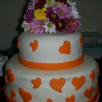 Fresh Flower Topper Cake This is my first try making a wedding cake using fresh flowers.I've used a flower foam and covered it with orange fondant then i'...