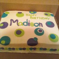 Fondant Circles Choc. cake. BC icing, Fondant circles and name.