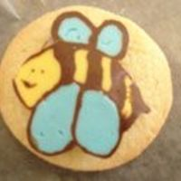 Bee chocolate transferes that my sister and i made in the morning and then just stuck onto the cookies with royal