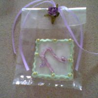 Communion Cookies For my daughter's communion - Penny's sugar cookie recipe made with sour cream.Topped with MMF and royal accents and initial....