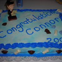 Grad Cake #2 This cake is all white and I coloured chocolates for this one as well.The blue was his school colours.