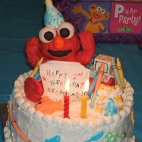 "Elmo World Birthday This was my attempt of A ""Elmo's World"" Birthday Cake... my son's favorite character and DVD. Everything on the cake is..."
