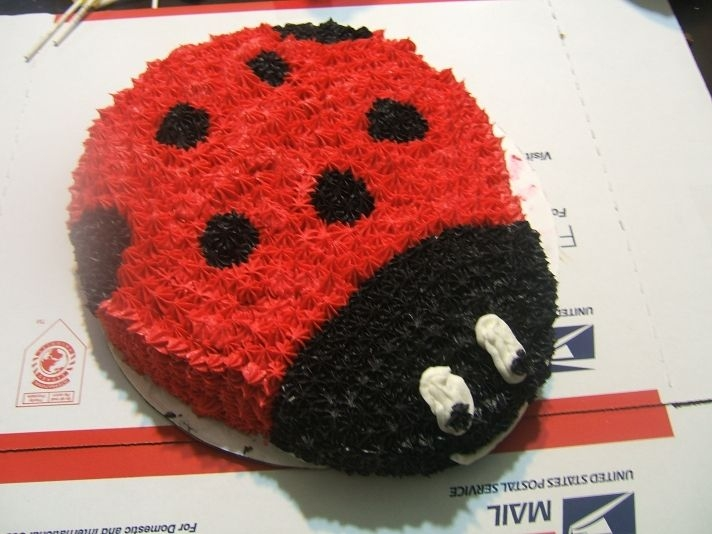Ladybug This is a ladybug cake, chocolate cake and buttercream using a star tip