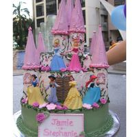 Castle Fit For The 5 Disney Princesses.  2 1/2 tier chocolate cake with cookies n cream filling. Whole cake is edible including the 7 towers. Sugar plaque made with gumpaste and...
