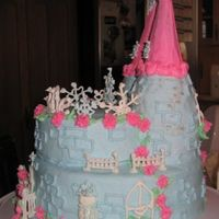 Sideview Of Winter Princess Castle I had a hard time getting the rice crispie treats covered for the towers. But the rest was a blast to make! And the family loved it! :0)