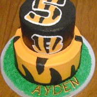 Bengals Birthday Cake Birthday Cake for a boy who is crazy about the Bengals.