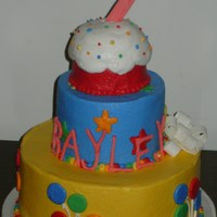 Birthday Cake For Bayley Made of Cinnamon Swirl with buttercream and MMF,