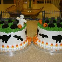 Matching Cakes For My Boys To Take To School Incredibly easy cake. The fence is royal icing. The mummy, gravestones, pumpkins and cutouts are fondant. There's candy corn around...