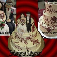 Lace Emroidery  This cake was designed to match the bride's dress. The toppers were also made to look like the bride and groom. It is buttercream with...