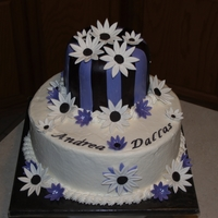 Purple & Black Daisy Bridal Shower Cake Bride's colors are violet, black and white. She is going for a daisies, dots & stripes theme for her wedding, so we did the bridal...