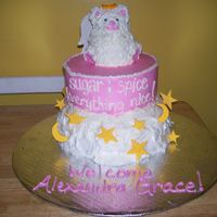 Baby Shower Cake buttercream with mmf stars and moons