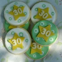 Birthday Cookies I made these for my son-in-law's thirtieth birthday. NFSC with Antonia74's royal icing & vanilla candy clay details.