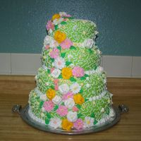 Summer Wedding Cake this cake was requested lime green, then I did lace and royal icing flowers
