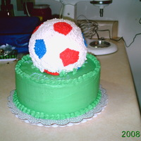 Soccer Cake   This was my first attempt at a ball cake, done in BC