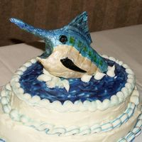 Blue Marlin Groom's Cake, blue Marlin, made from gumpaste.
