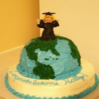 Graduation Cake, Top Of The World, World At Her Feet, Fondant Graduation Character This is a picture of my daughter's college graduation cake, she's got the World at her Feet!