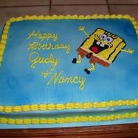 Spongebob   This is a Lite Chocalate cake with almond cream frosting