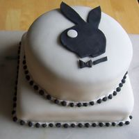 Playboy Cake This cake is one layer chocolate and one layer vanilla- filled with strawberry puree filling.