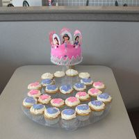 Fondant Princess Crown And Cupcakes   B-day 6inch cake with Fondant crown and fondant accents on the cupcakes.