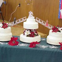 Snowflake Wedding Cake   snowflake winter themed wedding cake, with poinsettas