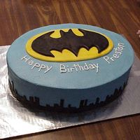 Batman Birthday Cake   batman birthday cake for a 2 year old boy. logo and buildings made of fondant.
