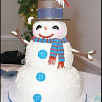 Snowman Wedding Cake This 5-tier cake was iced in buttercream with pretzel-rod arms coated in chocolate. The cardinal was purchased. The cake served 250 quests...