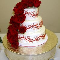 Red Scroll And Roses