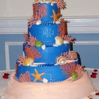 Seashell And Coral Cake Fondant shells and white chocolate coral adorn a sea blue mongramed wedding cake.